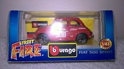 Burago Fiat 500 Sport Rally Model Boxed Dated 2003 Red Fiat • 7£