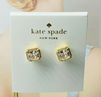 $ CDN11.91 • Buy Kate Spade New York Crystal Square Stud Earrings Gold