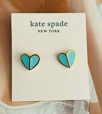 $ CDN12.53 • Buy Kate Spade New York Small Heart Stud Earrings Flamingo Blue