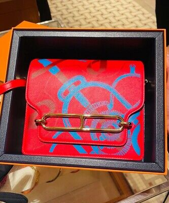AU15500 • Buy Brand New Hermes Sac Roulis Mini In Red And Blue Invoice Mar 20