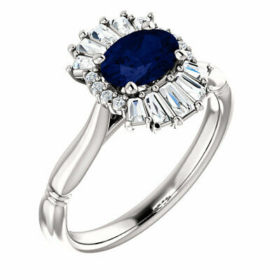 AU1621.74 • Buy Chatham Created Blue Sapphire & 1/4CT Diamond Halo-Style Ring In 14K White Gold