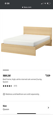 AU150 • Buy AS NEW Ikea Malm Queen Bed & X2 2-Drawer Bedsides RRP $487