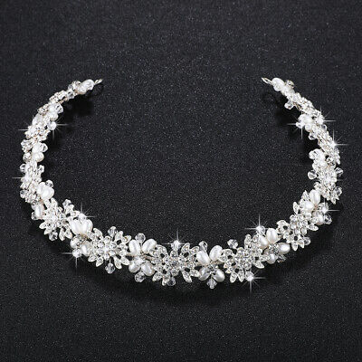 £32.57 • Buy White Gold Crown/tiara/headband, Clear Crystals & Pearls & Flowers, Bridal