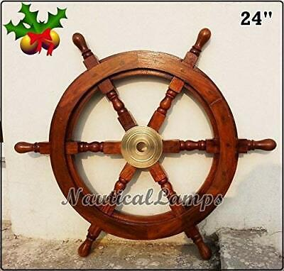 £120 • Buy Collectible 24  Ship Wheel Pirate Wooden Brass Hub Wall Décor