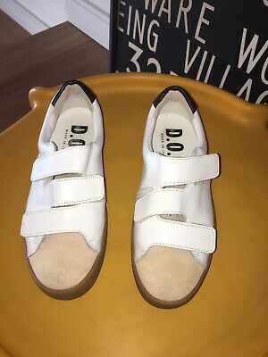 AU20 • Buy Dept Of Finery Shoes DOF Sneakers White With Pink Suede Detail Size 36