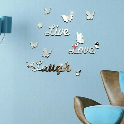 AU12.47 • Buy 3D Removable Mirror Wall Sticker Love Butterfly Decals Romantic Home Decor	DIY