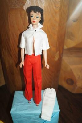 $ CDN107.78 • Buy Vintage Barbie Ponytail Raven - In Red Linen Pants, White Linen Jacket & Wedges-
