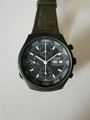 $ CDN3326.68 • Buy Vintage Gallet Valjoux 7750 World-Time GMT Chronograph Automatic Black PVD