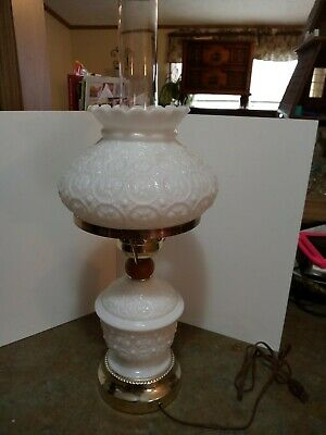 $90 • Buy Gone With The Wind White Milk Glass Hurricane Lamp Vintage Electric