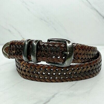 $20.83 • Buy Fossil Brown Distressed Braided Woven Laced Genuine Leather Belt Size 38