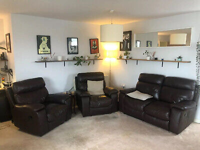 Genuine Brown Leather Sofa And Armchairs. Three Piece Suite. 3 • 4.20£