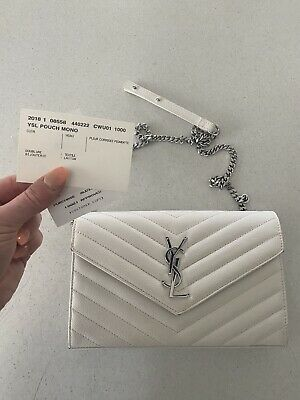 AU799 • Buy Yves Saint Laurent Ysl 3 Mix Envelope Clutch Handbag With Coa And Reciept.