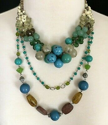 $ CDN25.05 • Buy Lia Sophia Statement Necklace Blue Green 18  + Two Strand Necklace 24  Lot Of 2