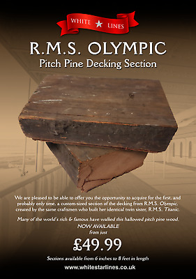 £49.99 • Buy Genuine Original 1911 RMS OLYMPIC / TITANIC Pitch Pine Decking 6  Section