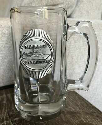 $41.99 • Buy Royal Caribbean Majesty Of The Seas Heavy Clear Glass Mug Cup Pewter Medallion