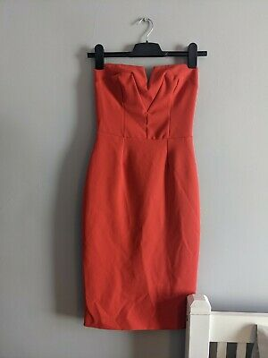 River Island Size 6 Strapless Fitted Bodycon Dress. Coral/orange • 0.99£