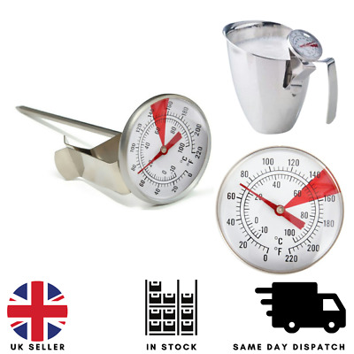£5.75 • Buy Milk Frothing Thermometer Coffee Maker Temperature Jug Pan Clip On Steel Pod UK.