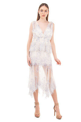 AU53.98 • Buy RRP €610 ALICE MCCALL Lace Tiered Dress Size 12 / L Asymmetric Gathered V Neck