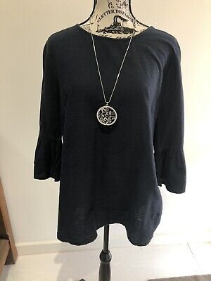 AU2 • Buy CLOTHING & CO Navy Fluted Sleeve Top Size 18
