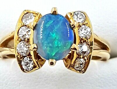 AU2500 • Buy 18k Solid Natural Semi-Black OPAL And Diamond RING_750 Yellow Gold
