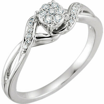 AU504.96 • Buy Diamond Cluster Promise Ring In 10K White Gold (1/8 Ct. Tw