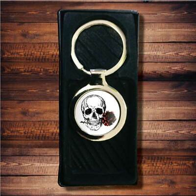 £4.99 • Buy Rose With Skull Scary Gothic Biker Resin Gel Domed Round Metal Keyring