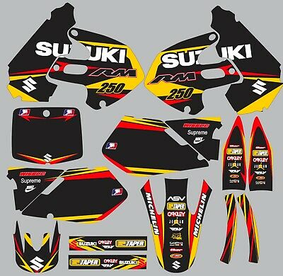 $95 • Buy Decals For Suzuki RM250 RM 250 GRAPHICS 1999-2000 Red Yellow