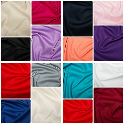 £0.99 • Buy Plain Cotton Stretch Sateen Fabric Material - 146cm (57 ) Wide, 15 Colours