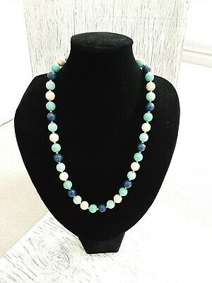 £3.99 • Buy Pretty Colourful Beaded Summer Necklace Blue And Cream Round Beads