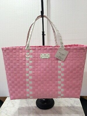 $ CDN48.87 • Buy Kate Spade NY Logo Large Woven Pink/ White Tote Weekender Bag, NEW WITH TAG