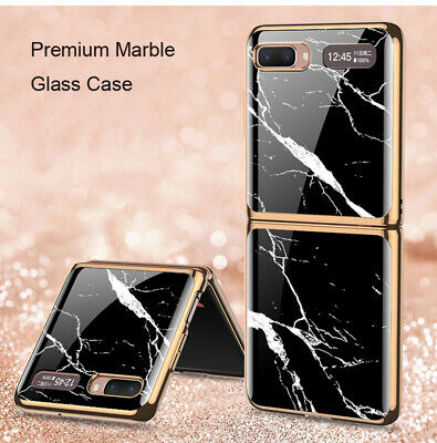 AU31.58 • Buy For Samsung Galaxy Z Flip Luxury Marble Tempered Glass Plating Frame Cover Case