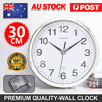 AU13.95 • Buy Wall Clock Quartz Round Wall Clock Silent Non Ticking Battery Operated 12 Inch