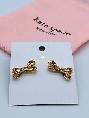 $ CDN8.76 • Buy Kate Spade Gold Bow Inlaid White Zircon Fashion Stud Earrings