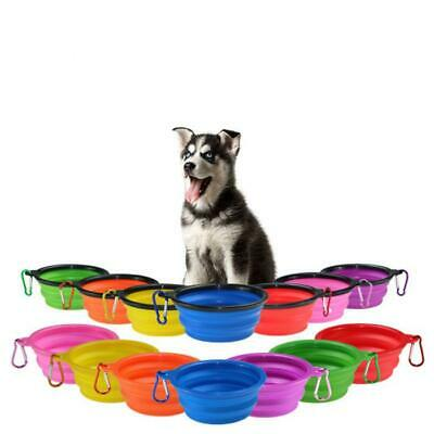 Pet Dog Cat Collapsible Feeding Bowl Travel Portable Silicone Water Dish Camping • 2.69£