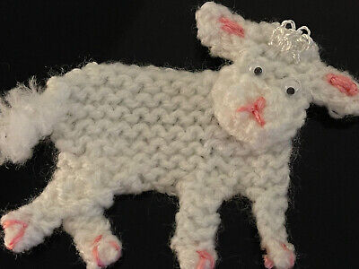 £1.75 • Buy Hand Knitted Flat Lamb For Decoration Card Making Nursery Or Blanket Clothing