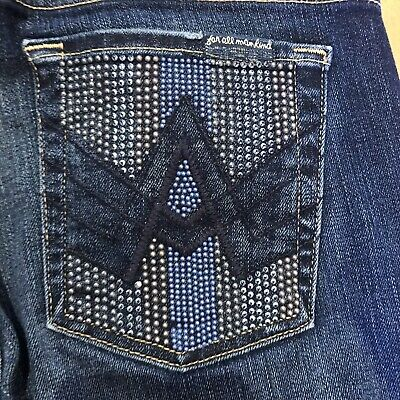 AU32.30 • Buy Seven 7 For All Mankind A Pocket Embellished Jeans Boot Cut Jeans Size 28