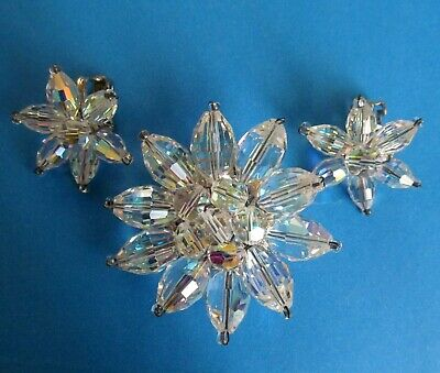 $ CDN19.99 • Buy Vintage Brooch And Clips Set With Sparkling  Clear Beads.