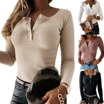 £12.99 • Buy Womens Ladies Button Neck Ribbed Slim Fit Long Sleeve Blouse Winter Jumper Tops