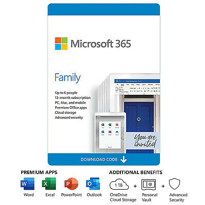 AU105.16 • Buy Microsoft Office 365 Family - 1 Year Activation Code (Sent By Email)
