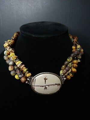 $ CDN241.99 • Buy WK Sterling Silver Tigers Eye Mixed Gemstone Statement Necklace 19.5 Inches