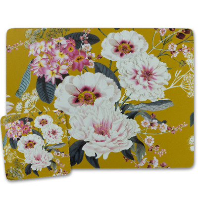 £12.99 • Buy Yellow Placemats And Coasters Cork Backed Place Mats MDF Floral Design 4/6