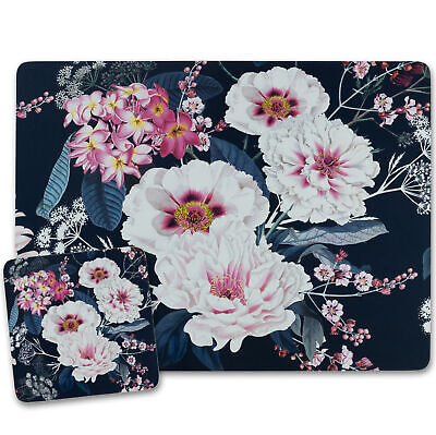 £10.99 • Buy Navy Blue Placemats And Coasters Cork Backed Place Mats MDF Floral Design 4/6