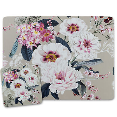 £10.99 • Buy Beige Cream Placemats And Coasters Cork Backed Place Mats MDF Floral Design 4/6