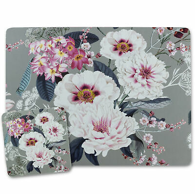 £12.99 • Buy Grey Placemats And Coasters Cork Backed Place Mats MDF Floral Design 4/6