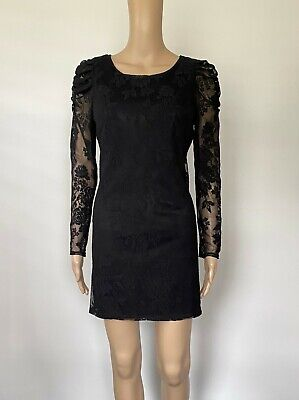 AU15 • Buy Stunning Forever New Black Long Sleeve Lace Dress - Size 10