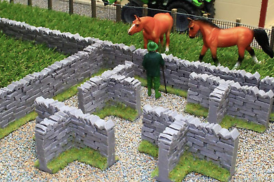 £14.99 • Buy Brushwood Toys 1:32 Scale Authentic Stone Wall T-sections Bt3008