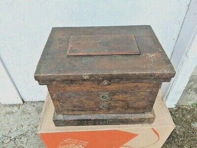 $265 • Buy Rare Antique Machinists Carpenter Wood Tool Box Chest Cabinet 3 Drawer 1800s