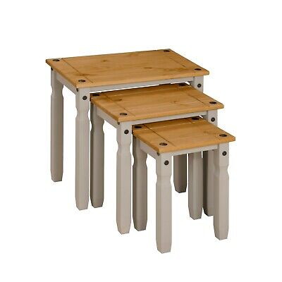 £42.99 • Buy Corona Grey Wax Nest Of Tables Set Of 3 Occasional Coffee Side Table Mexican