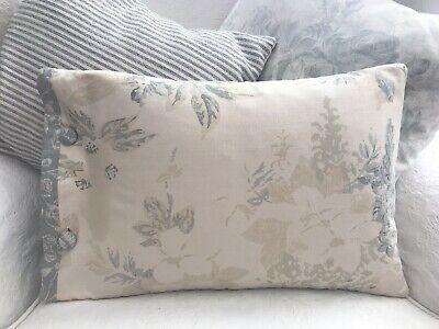 Cabbages And Roses Mary & French Toile Blue /Natural Linen Fabric Cushion Cover • 25£