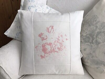 Cabbages And Roses Hatley Pink Linen Fabric Cushion Cover With Frill & Meggernie • 25£